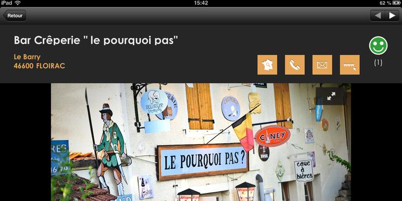 Vallée de la Dordogne l'appli : Une fiche restaurant