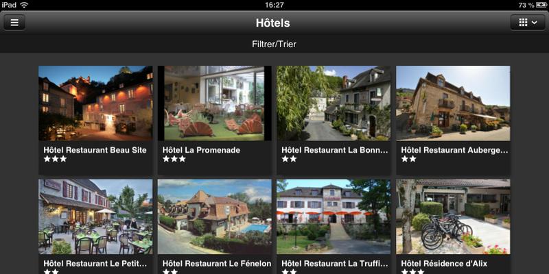 Vallée de la Dordogne l'appli : Le mode liste
