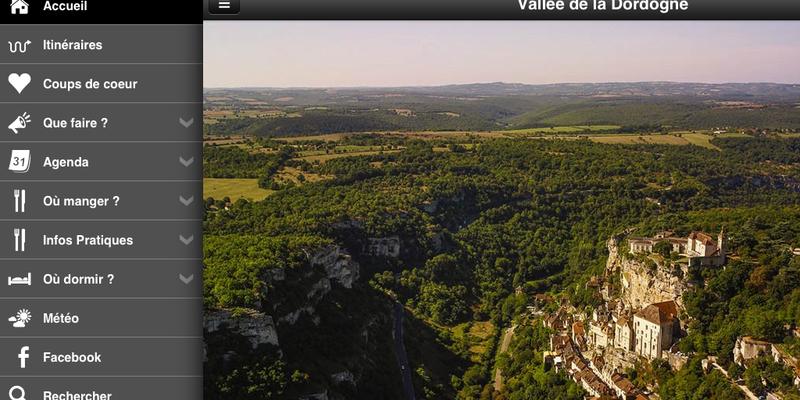 Vallée de la Dordogne l'appli : L'écran d'accueil