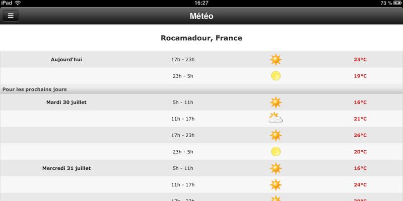 Vallée de la Dordogne l'appli : la météo