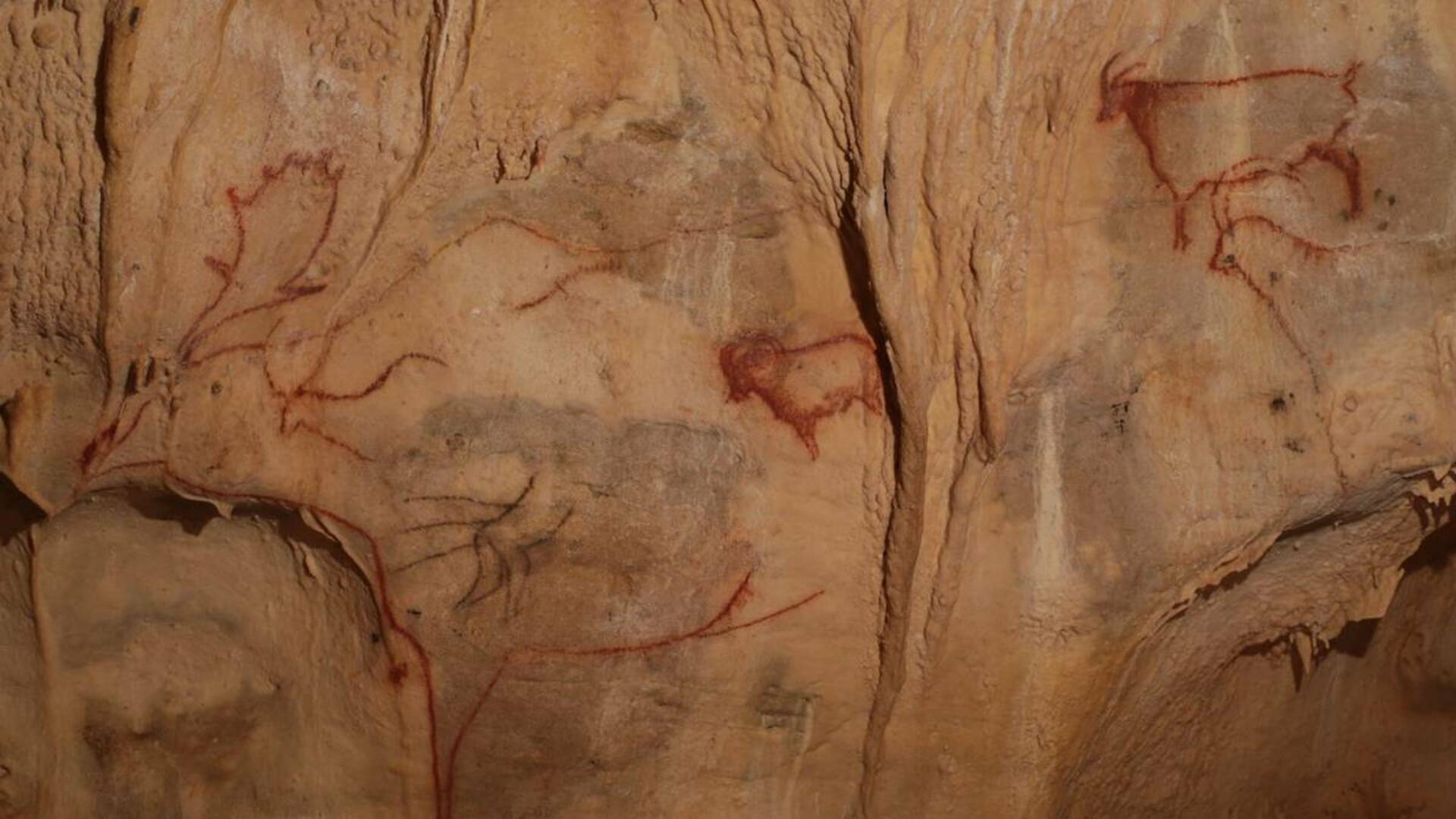 Prehistoric paintings in the caves of Cougnac
