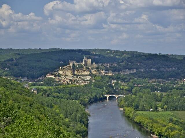 View of Beynac, the castle and river below