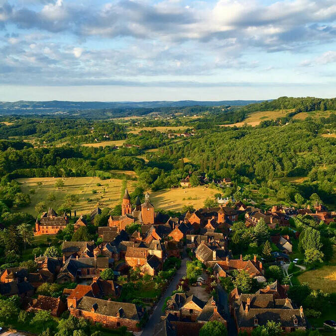 Aerial view of Collonges-la-Rouge